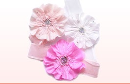 Baby and girls headbands are available in stretch ruffled organza using the finest quality silk flowers embellished with Swarovski crystals.  Mesh stretch bands are very colourful and dressy. Feature silk poppy flowers and roses. Ideal for events, birthdays, parties. All headband come individually packaged in clear PVC boxes. Perfect for gifts.
